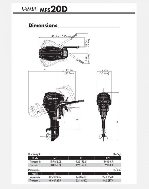 Ex-Display Unit, Tohatsu 20hp 4 Stroke Outboard Manual