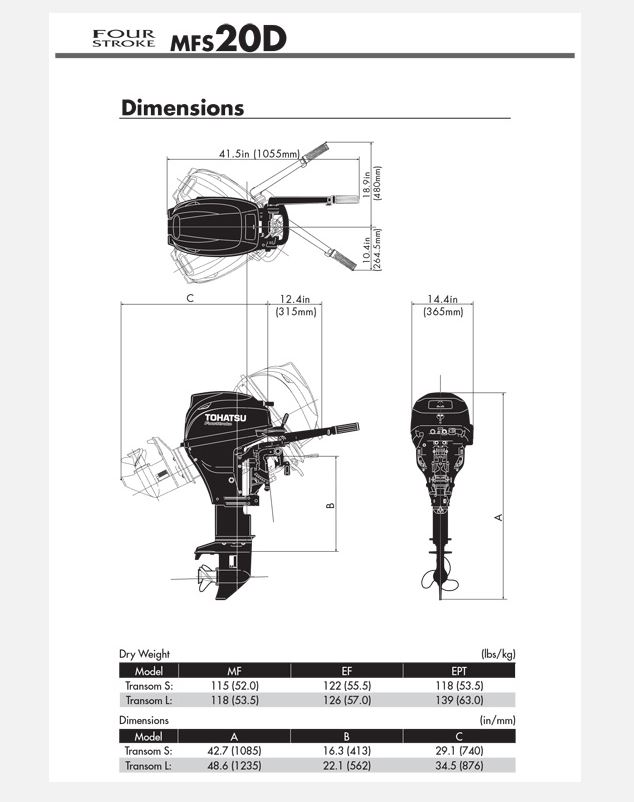 Tohatsu 20hp 4 Stroke Outboard Motor Engine Manual Start