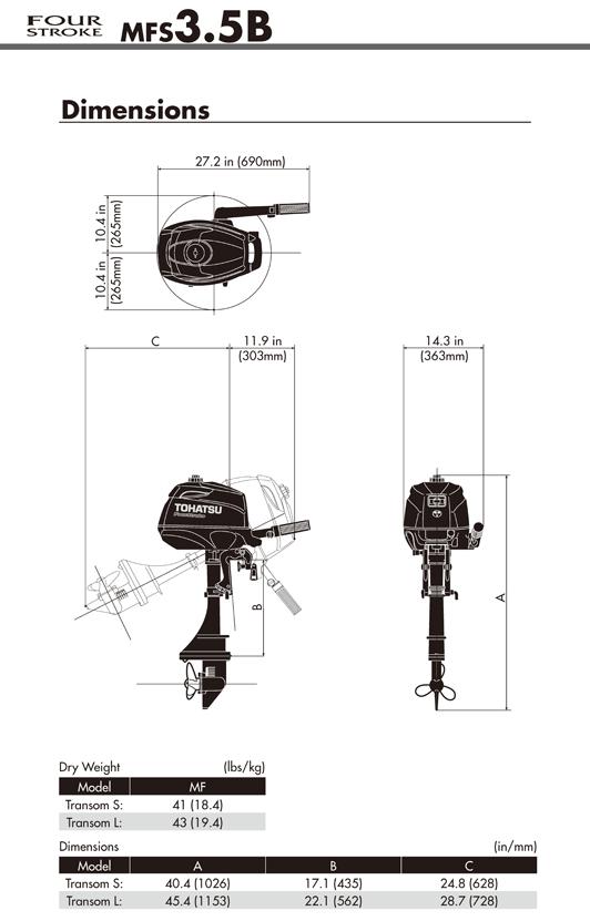 Tohatsu 2.5hp 4 Stroke Outboard Motor Engine MF2.5B Manual