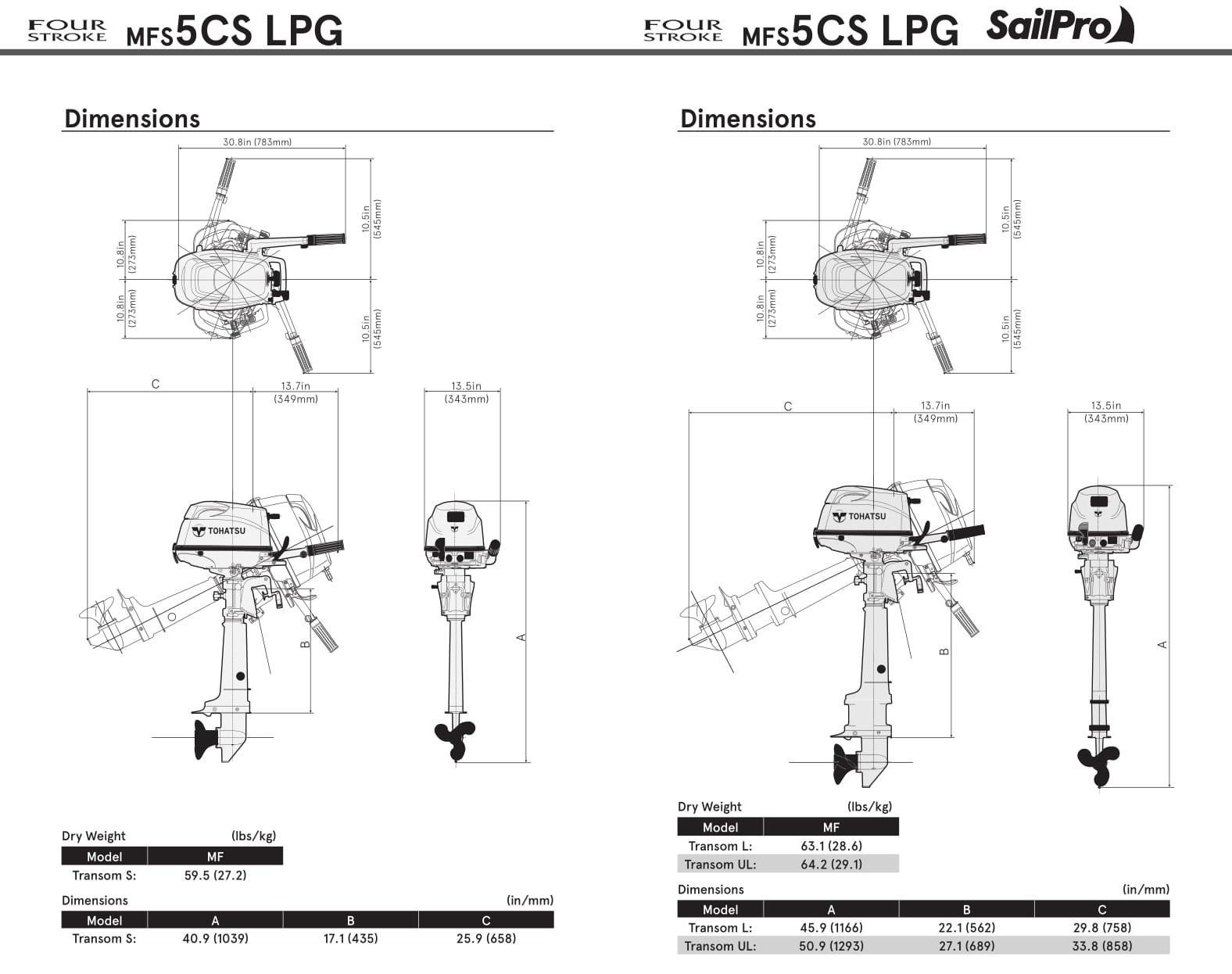 Tohatsu 5hp Liquefied Petroleum Gas (LPG) Outboard Tiller