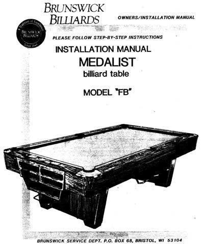 Brunswick Medalist Instruction Manual or Installation Manual