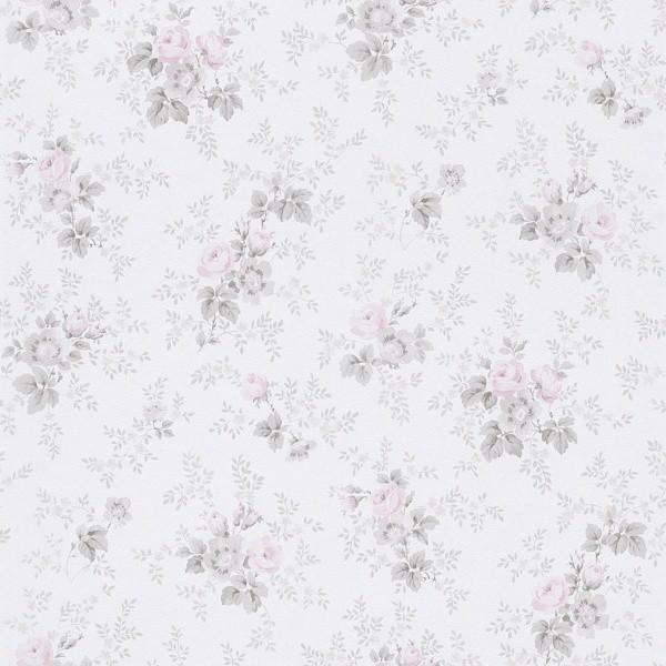 Tapete rosa grau Blumen Petite Fleur Rasch 285030