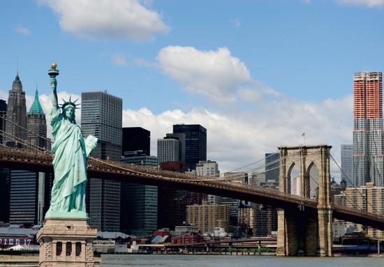Fototapete Tapete New York Freiheitsstatue NYC Skyline Foto 360 cm x 270 cm