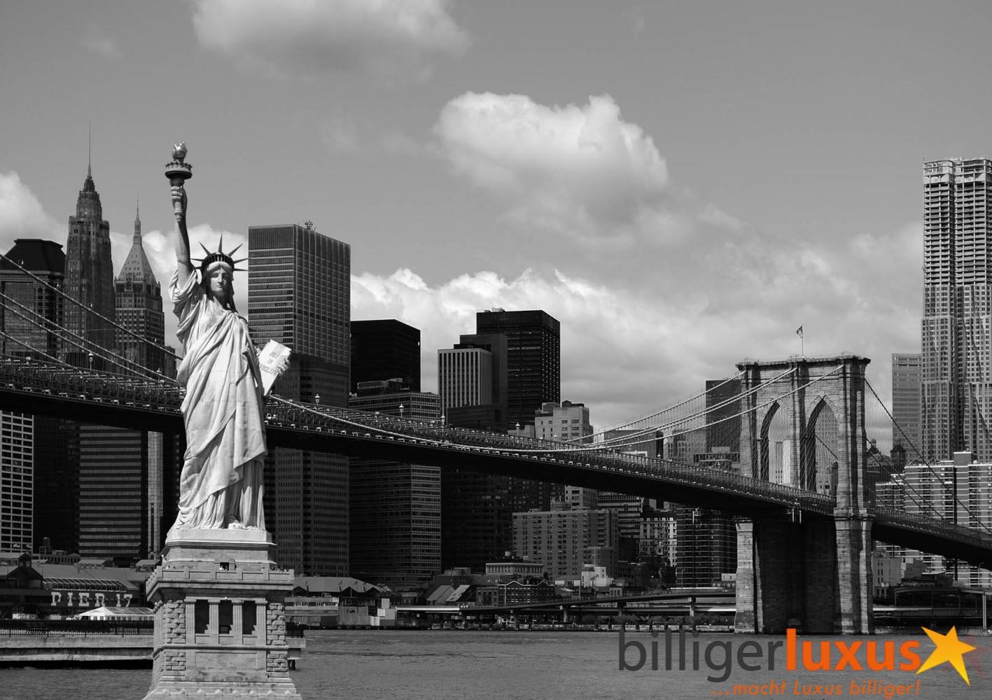 Fototapete Tapete Brooklyn Bridge Freiheitsstatue New York