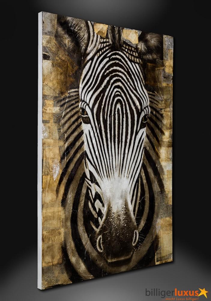 Original lgemlde Leinwand Zebra Afrika Gemlde 150x100 cm Wandbild Afrika