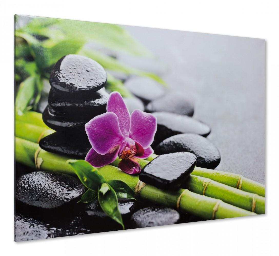 Keilrahmen Leinwand Bild Wandbild 60x90 Wellness Steine