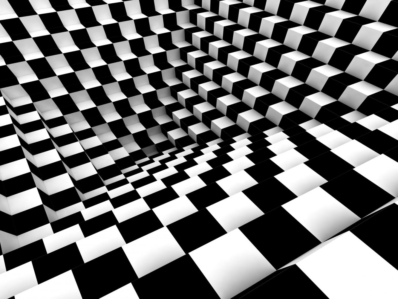 Fototapete Tapete Schach Muster 3D Effekt Foto 360 x 270 cm