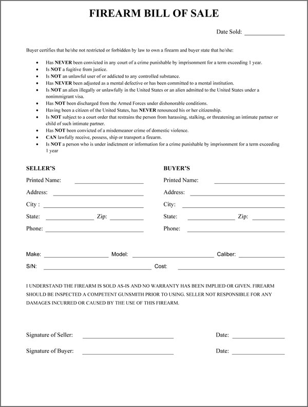 Free printable firearms bill of sale form download from gunwarrior. Firearm Bill Of Sale Form