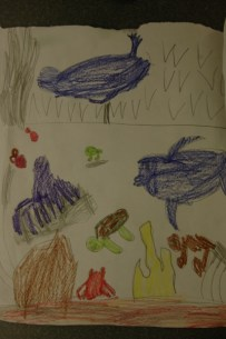 Helena doesn't draw nearly as much as Liam, but she loves drawing sea animals.