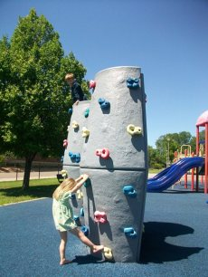 Rock Climbing - Liam made it over the top and down the other side.