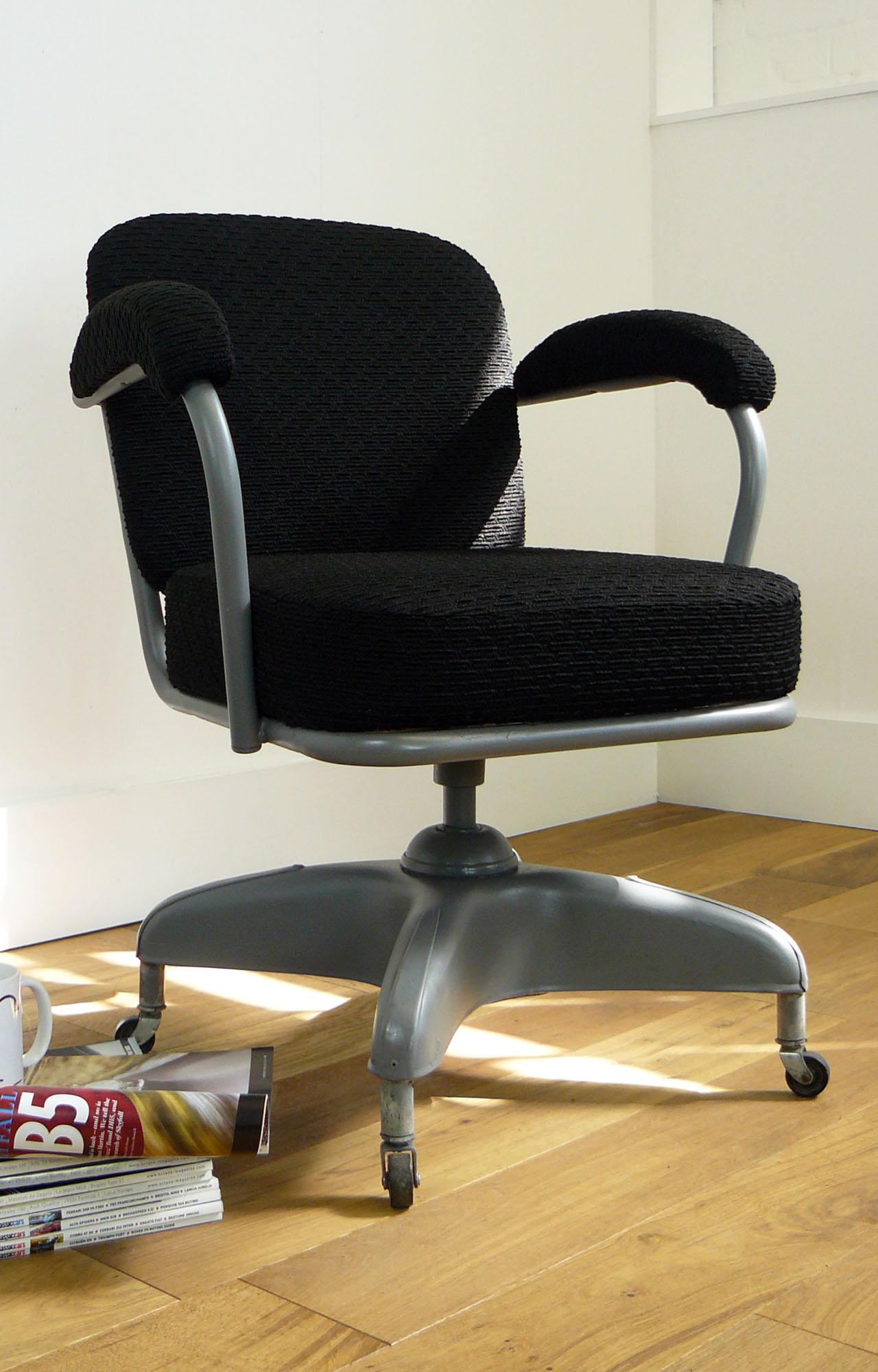 Vintage Industrial 1940s Metal Swivel Desk Office Chair