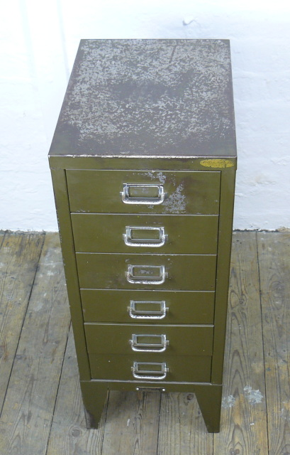 Small Vintage 1930 Six Drawer Filing Cabinet in Office Green