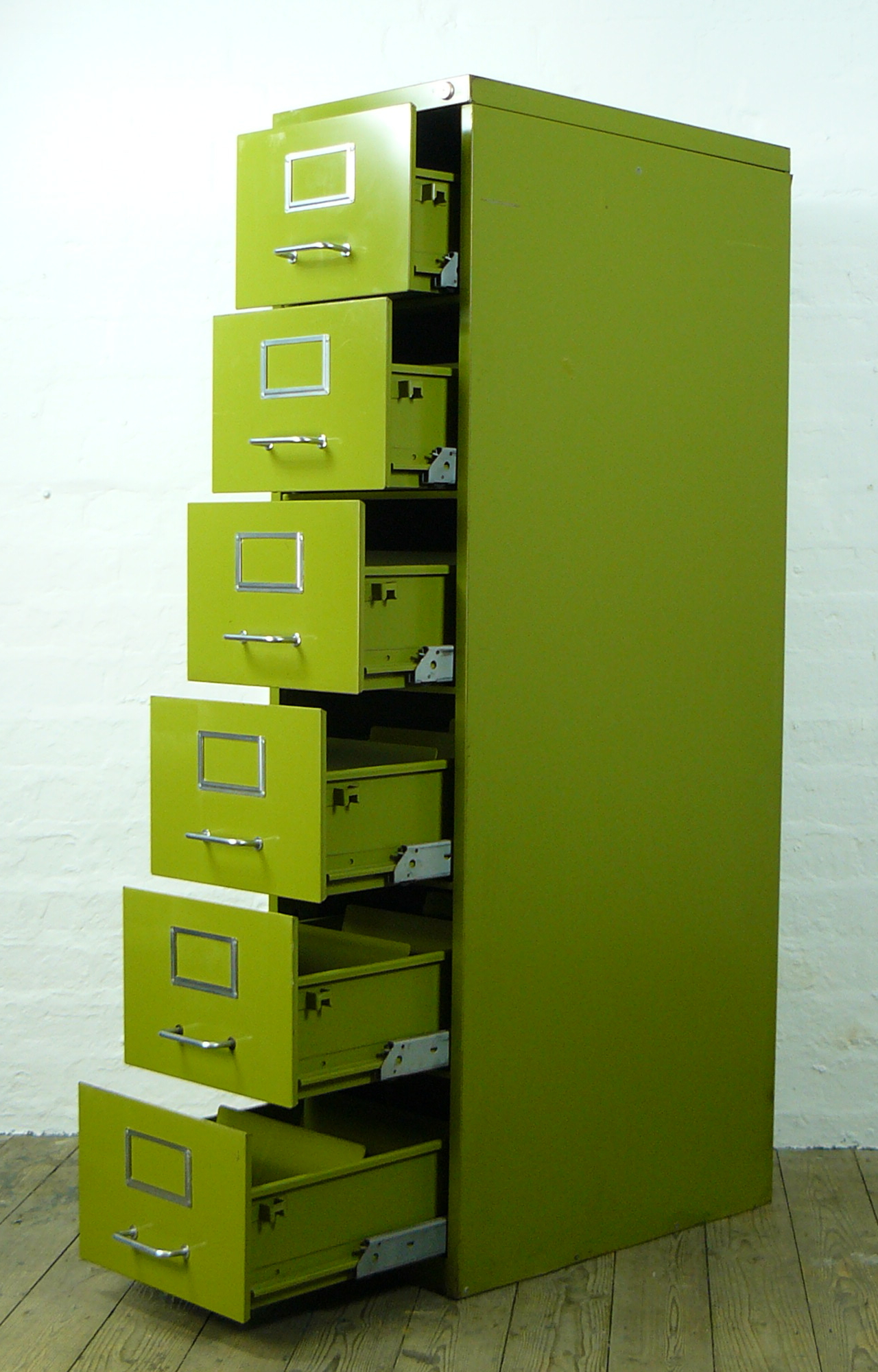 Vintage 1960 1970 Narrow Six Drawer Pea Green Metal Cabinet