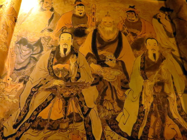 Beautiful mural in City God Temple. Shanghai, China, Asia.