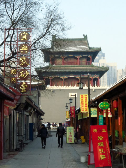 The main attraction in the Old Town is the Drum Tower. Originally built during the Ming Dynasty, it was rebuilt after being destroyed during the Cultural Revolution. Tianjin, China, Asia.