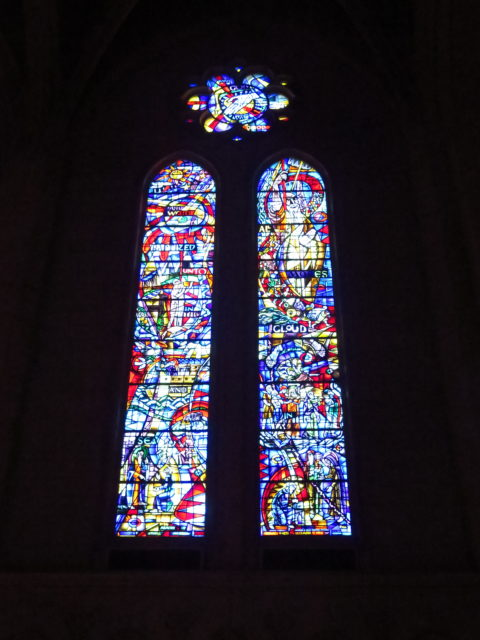 I am very confused about the windows at Grace Cathedral. I thought I was taking pictures of windows memorializing Albert Einstein and John Glenn. But this one tells the creation story. San Francisco, United States, North America.