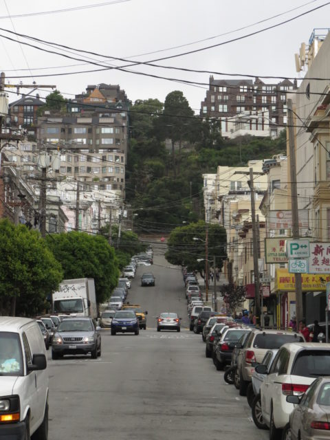Heading west from North Beach, sloping Vallejo Street becomes the steep Vallejo Steps climbing Russian Hill. San Francisco, United States, North America.