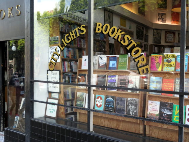 Perhaps North Beach's most storied establishment, City Lights Bookstore. (And that's a bit of a pun.) San Francisco, United States, North America.