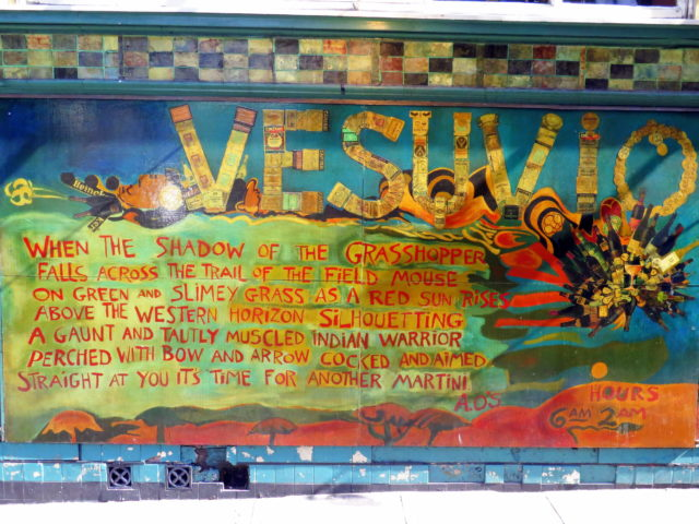 Mural in Jack Kerouac Alley outside Vesuvio Cafe. San Francisco, United States, North America.