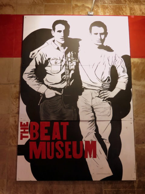Iconic photo of best friends Neal Cassady and Jack Kerouac outside the Beat Museum. San Francisco, United States, North America.