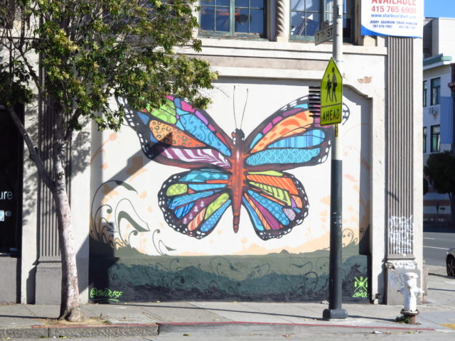 This pretty butterfly mural is a harbinger of things to come on Day 4 in the nearby Mission District. San Francisco, United States, North America.