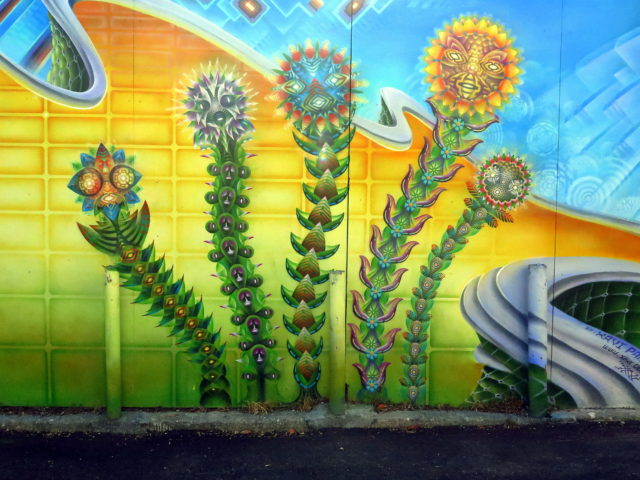 Trippy flowers on Cypress Alley. San Francisco, United States, North America.