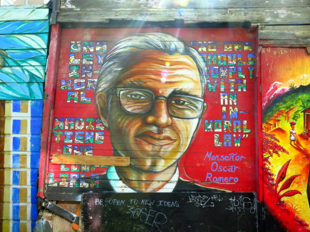 Mural of slain Salvadoran Archbishop Oscar Romero. San Francisco, United States, North America.