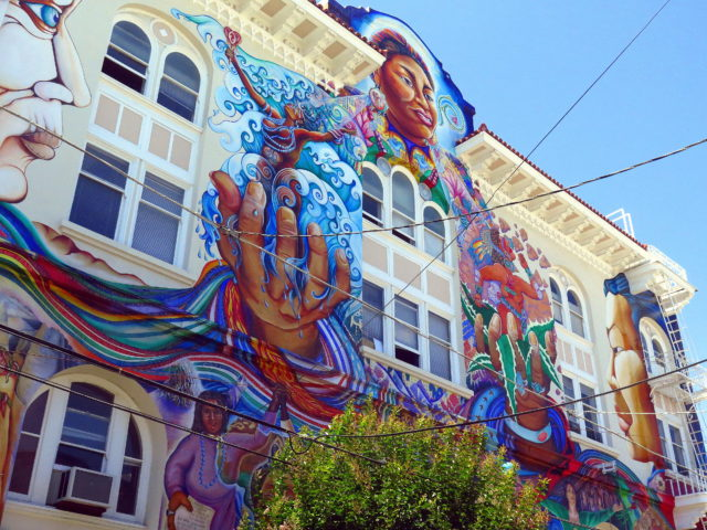The completely awesome MaestraPeace mural on San Francisco's Women's Building. San Francisco, United States, North America.