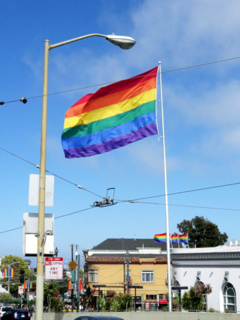 Welcome to the Castro, San Francisco's world-famous gay neighborhood! Upon arrival, visitors are greeted by the giant rainbow flag at Castro & Market. San Francisco, United States, North America.