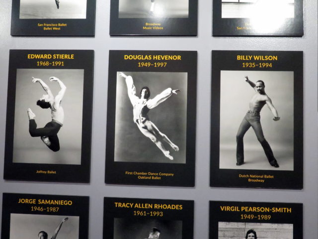 "A detail from the poignant exhibition ""Dancers We Lost"", which honors performers lost to AIDS. San Francisco, United States, North America."