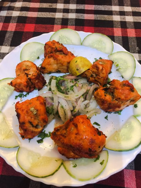 Chicken tikka tandoori. Spiced up, but not sauced up. In other words, perfect for me! Agra, India, Asia.