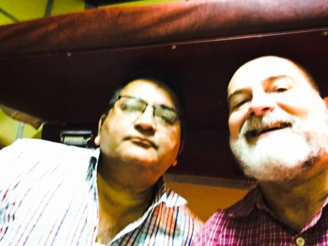 Me and my roommate in my overnight 1st class sleeper berth from Delhi to Jodhpur. India, Asia.
