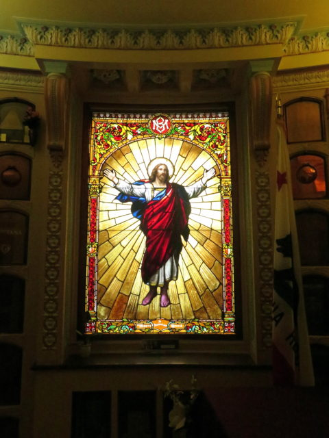 Blazing stained glass in the San Francisco Columbarium. San Francisco, United States, North America.