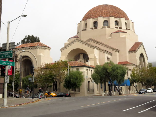 The striking Temple Emanu-el is a mash-up of Byzantine architecture and Mission Revival Style. San Francisco, United States, North America.