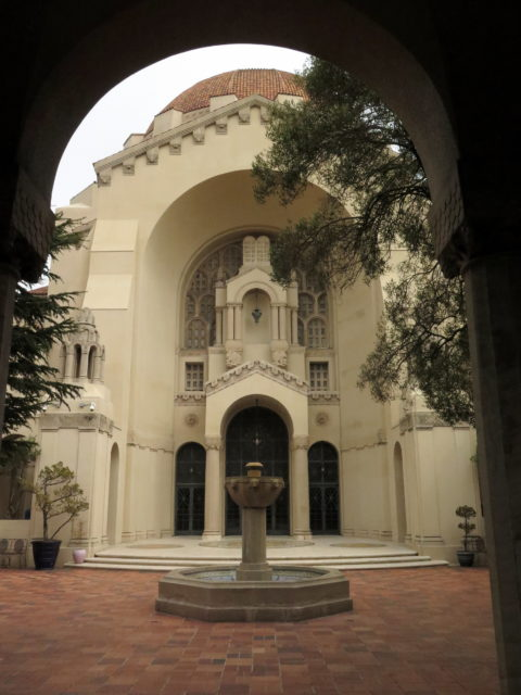 A sneak peek inside the courtyard at Temple Emanu-el. San Francisco, United States, North America.