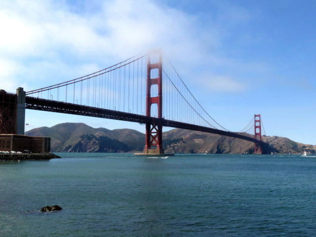 My final view of the magnificent Golden Gate Bridge before I begin my 2-wheeled trek over it. San Francisco, United States, North America.