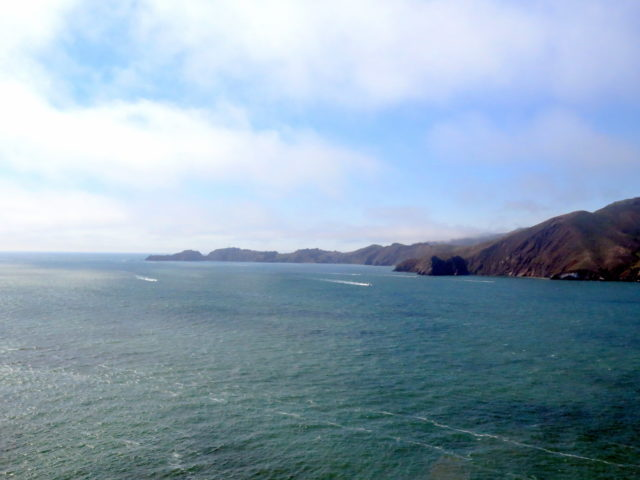 You don't get to stop and take in the view when driving over the Golden Gate Bridge. Here is the view of the Marin Headlands on the northern side of the Golden Gate. Golden Gate Bridge, San Francisco, United States, North America.