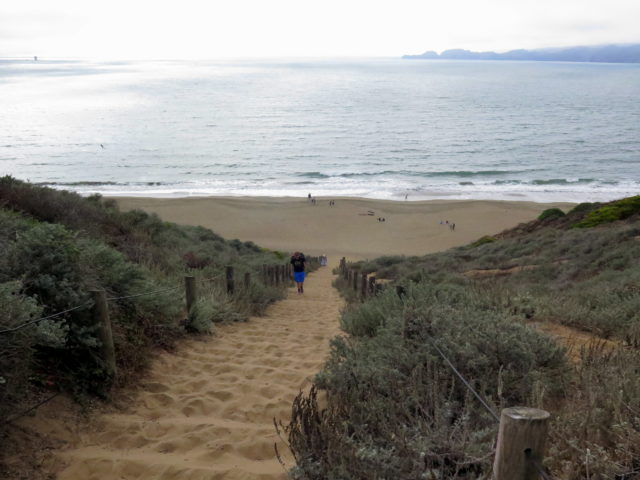 Down the Sand Ladder to the great Pacific Ocean. (As I'm from the East Coast, the Pacific is still a big deal to me.) San Francisco, United States, North America.