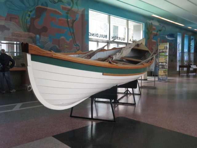 One of the best sites at San Francisco Maritime National Historical Park is the Maritime Museum, which houses historical nautical objects. Here is a scale replica of a 19th-century whaleboat used in what had been the lucrative Massachusetts-based whaling industry. San Francisco, United States, North America.