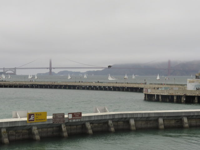 "View of my favorite bridge (that's the Golden Gate Bridge, just in case) from the deck of the ""Balclutha"" on Hyde Street Pier at San Francisco Maritime National Historical Park. San Francisco, United States, North America."