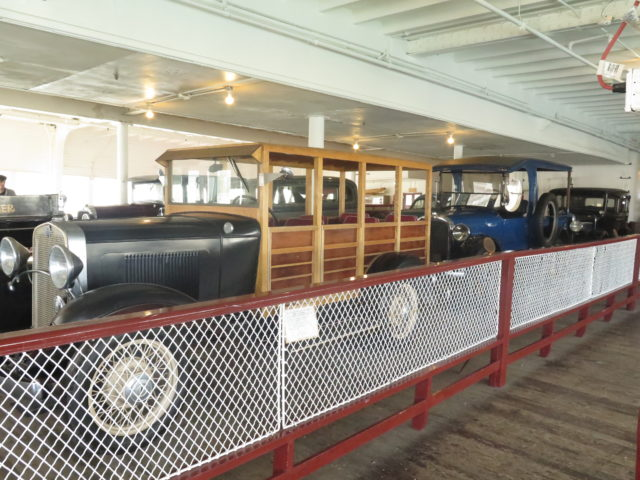 Even the cars below decks on the ferry Eureka are historic at San Francisco Maritime National Historical Park. San Francisco, United States, North America.