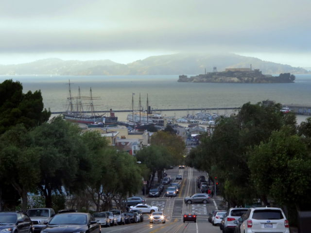 After dinner, I ascended Russian Hill, turned around, and took in the view encapsulating my day on San Francisco's historic waterfront. Alcatraz, San Francisco, United States, North America.
