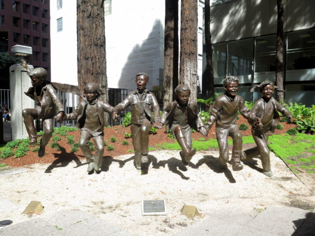 "Jump for joy! ""Puddle Jumpers"" in Transamerica Redwood Park is probably the happiest outdoor sculpture in San Francisco! United States, North America."