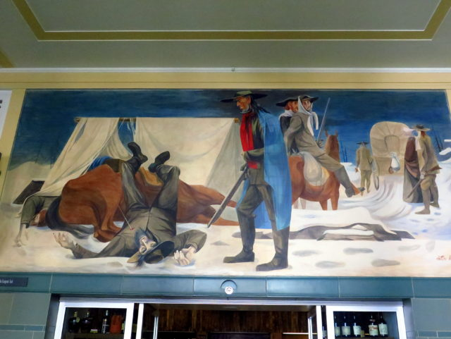 """Hardships on the Emigrant Trail"". The Donner party is now being served. San Francisco, United States, North America."