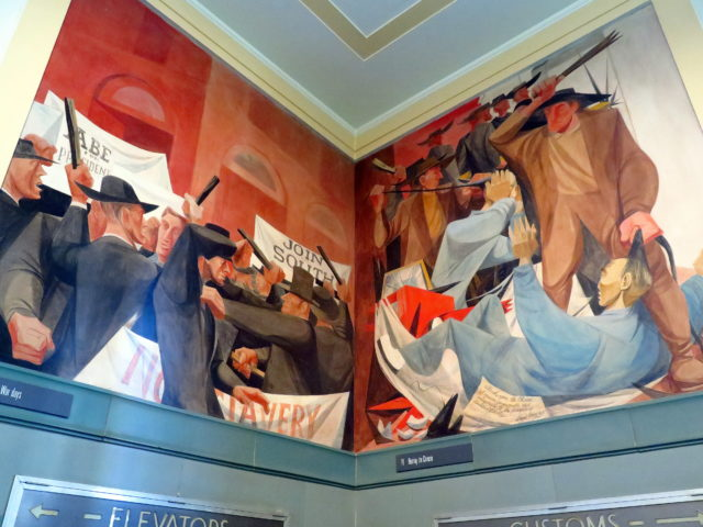 "Tough times in San Francisco. On the left, ""Riot scene, Civil War days"" depicts a riot breaking out between supporters of the North and of the South. On the right, ""Beating the Chinese"" depicts times in the 1870s when European San Franciscans persecuted the Chinese, who were willing to work for low wages and got more than their share of jobs. The character in the foreground is about to be humiliated by having his traditional queue cut off by a thug. San Francisco, United States, North America."