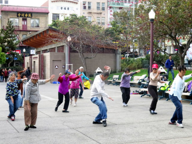 Morning Tai Chi in Portsmouth Square. San Francisco, United States, North America.