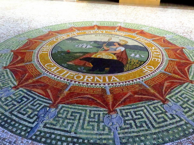 On the 2nd floor of the Ferry Building, a large mosaic of the Great Seal of the State of California. San Francisco, United States, North America.