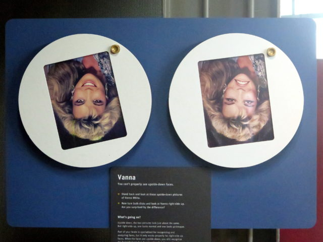 "2 upside-down pictures of ""Vanna"" at the Exploratorium. What's the big deal? San Francisco, United States, North America."