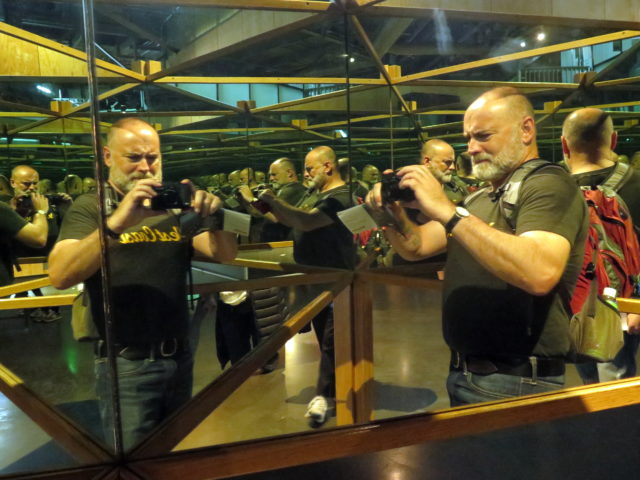There's so many of me inside this mirrored contraption at the Exploratorium. San Francisco, United States, North America.