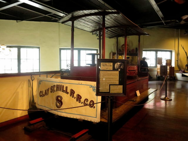 The only surviving car of the Clay Street Hill Railroad, the world's first cable car line. San Francisco, United States, North America.